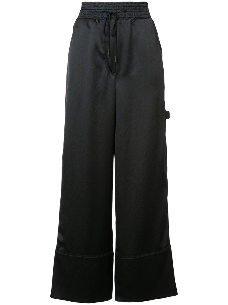 lyst off white c o virgil abloh wide leg trousers in black. Black Bedroom Furniture Sets. Home Design Ideas