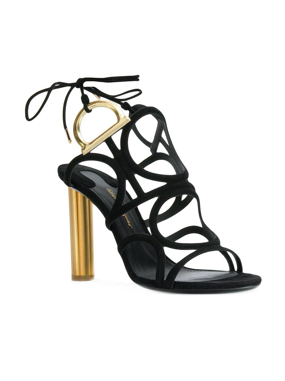 b1571666dd0e Lyst - Ferragamo Vinci 105 Black Suede Golden Heel Sandals in Black - Save  4%