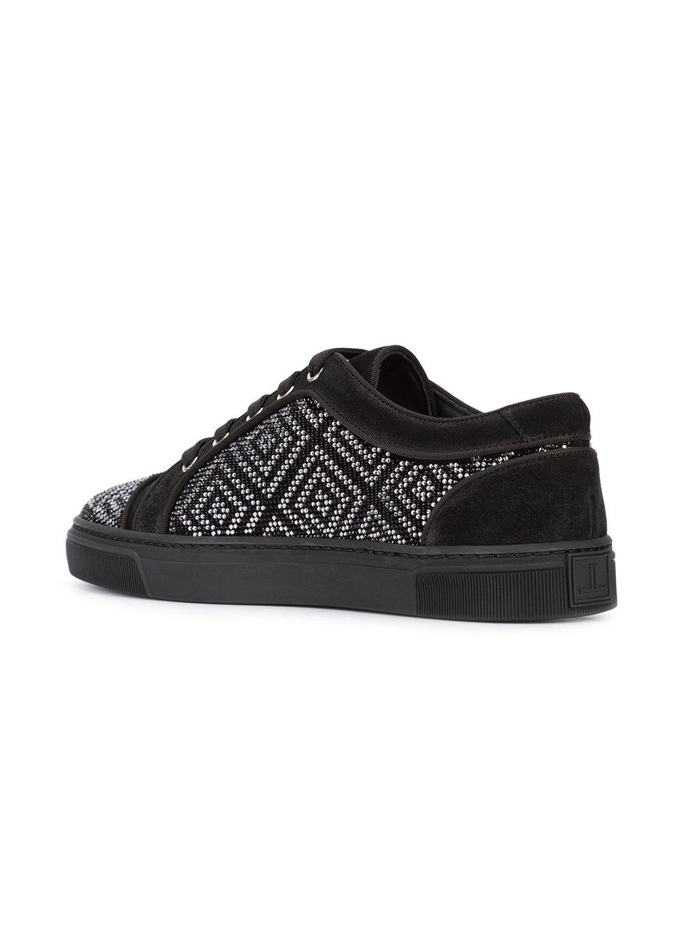 Louis Leeman Leather Contrast Lace Up Trainers in Black for Men
