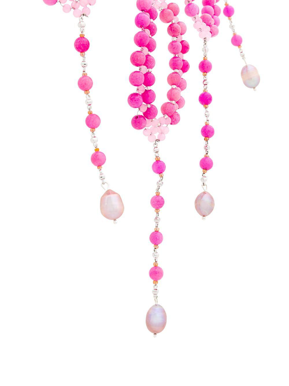 Night Market Beaded Necklace in Pink