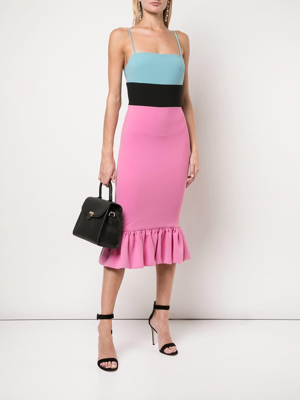 01e3342fcb52c Christian Siriano Fitted Peplum Midi Dress in Pink - Lyst