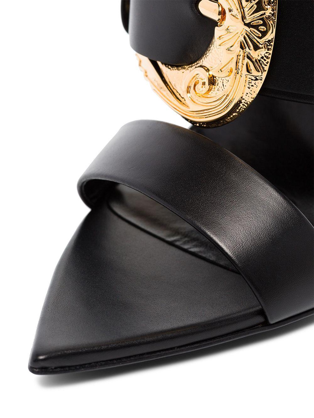 Mules western de 110mm y motivo Barocco Versace de Cuero de color Negro
