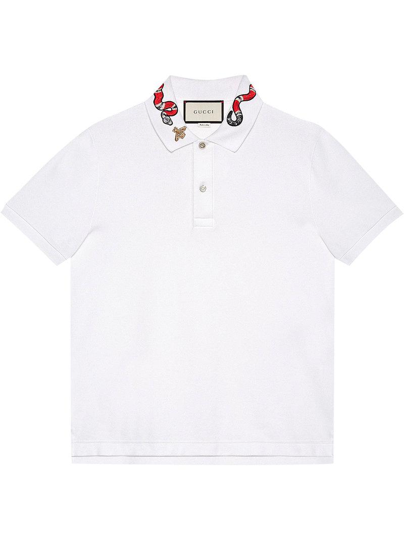 1b1affd53098 Gucci - White Kingsnake Embroidered Polo Shirt for Men - Lyst. View  fullscreen