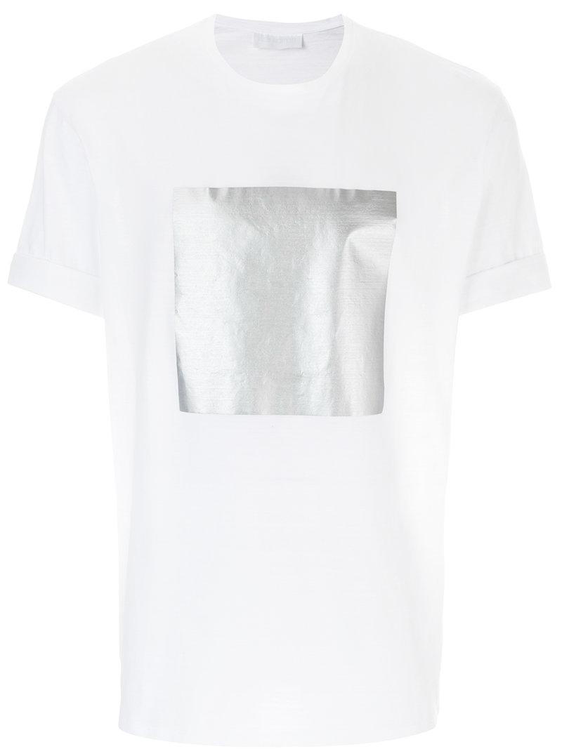 11349fd6 Lyst - Neil Barrett Silver Square T-shirt in White for Men