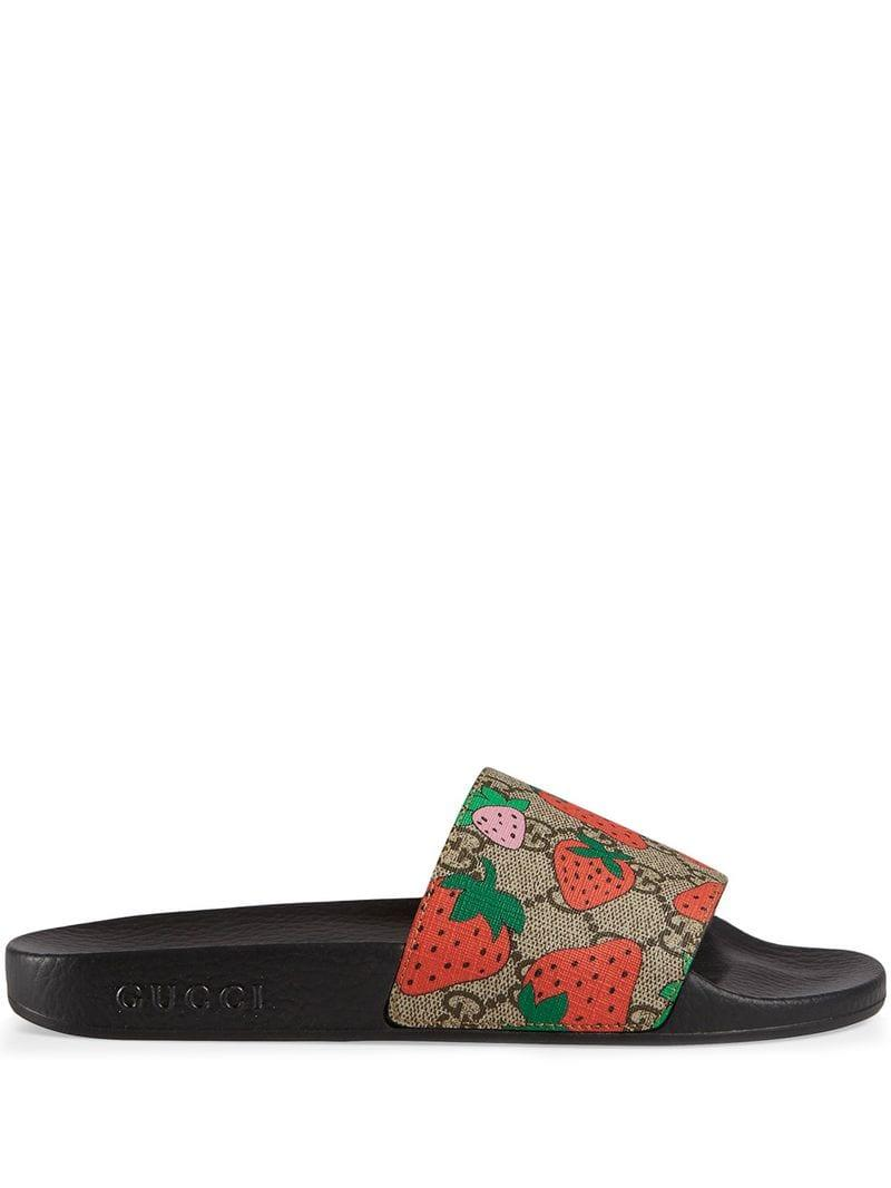 cdce95cdc13 Lyst - Gucci GG Strawberry Slide Sandal in Black