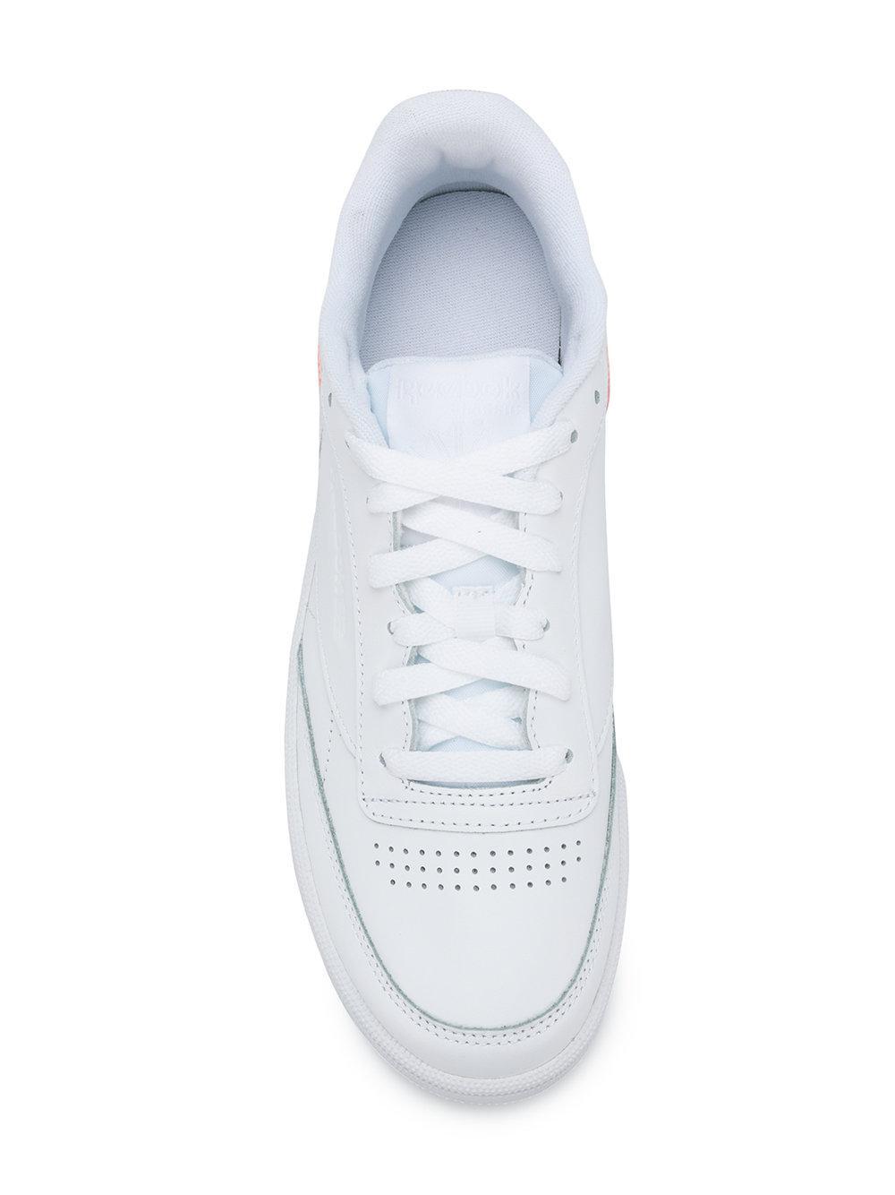 Reebok Leather Contrast Heel Sneakers in White