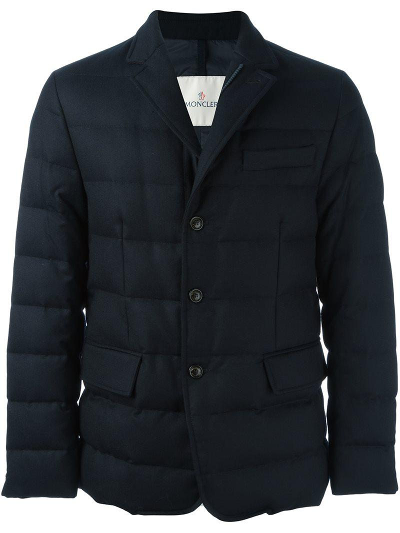 Moncler Wool Rodin Jacket In Blue For Men Lyst