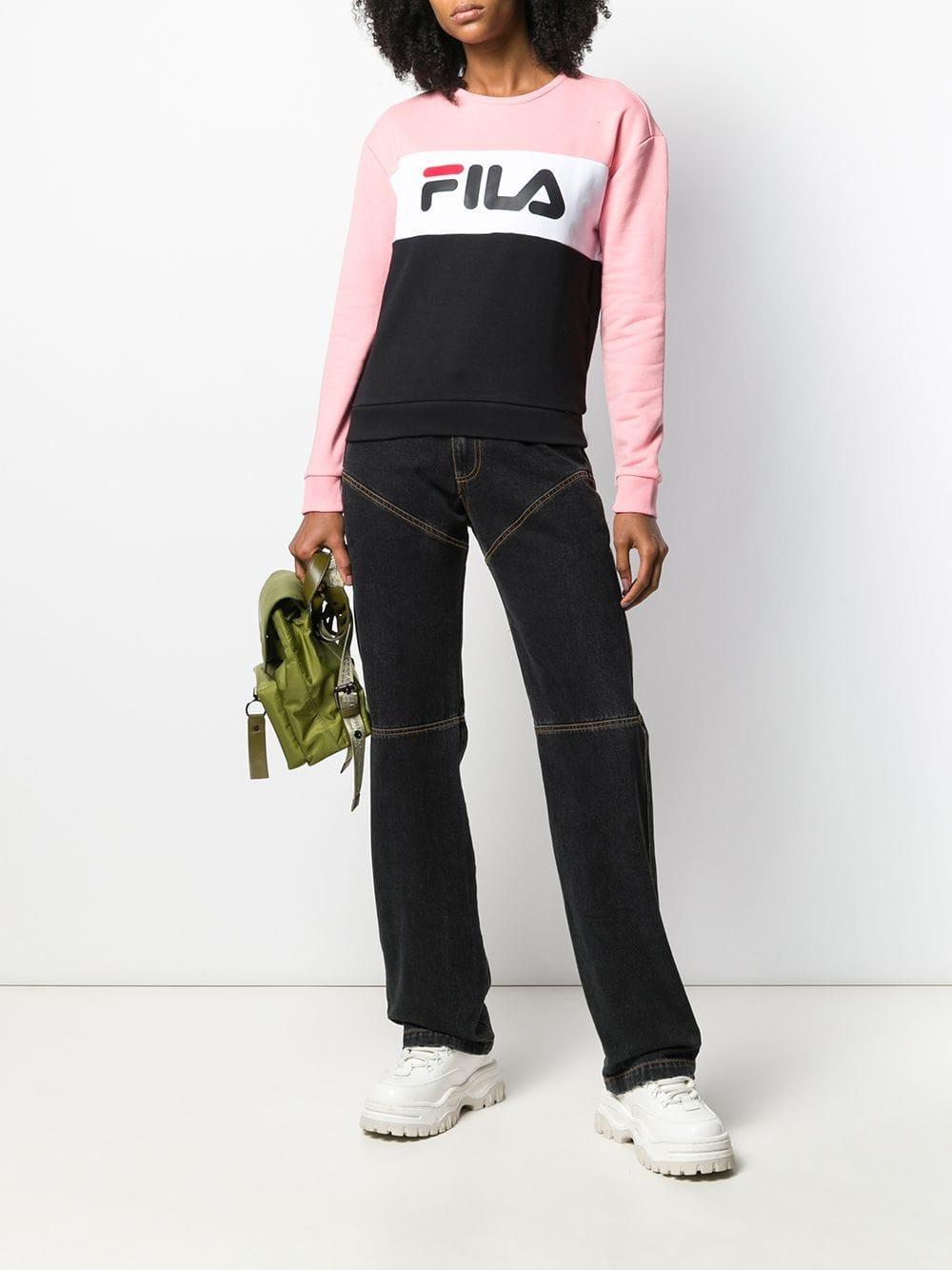 Sweat Leah Coton Fila en coloris Rose