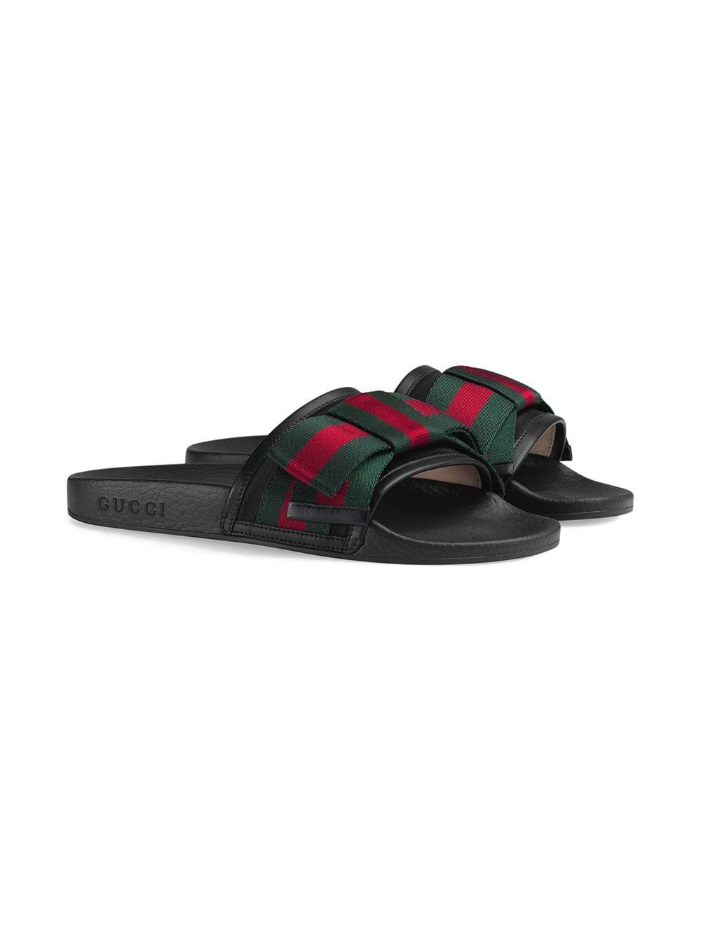 2e3ed61dba0 Gucci - Black Pursuit Cotton And Leather Ribbon Bow Flat Slides - Lyst.  View fullscreen