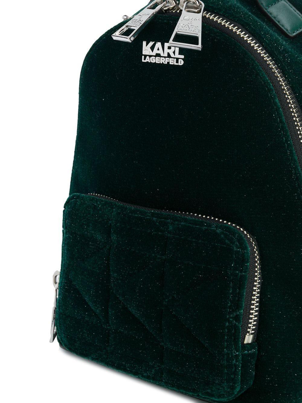 Karl Lagerfeld Karl X Kaia Velvet Mini Bpack in Green - Lyst