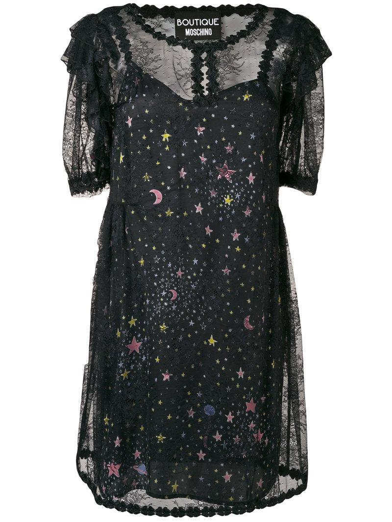 Quality Free Shipping Outlet Boutique Moschino star print sheer dress In China Cheap Price lxaY6zL