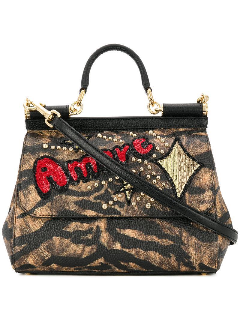 Lyst - Dolce   Gabbana Sicily Shoulder Bag in Brown d6e7202e65b00