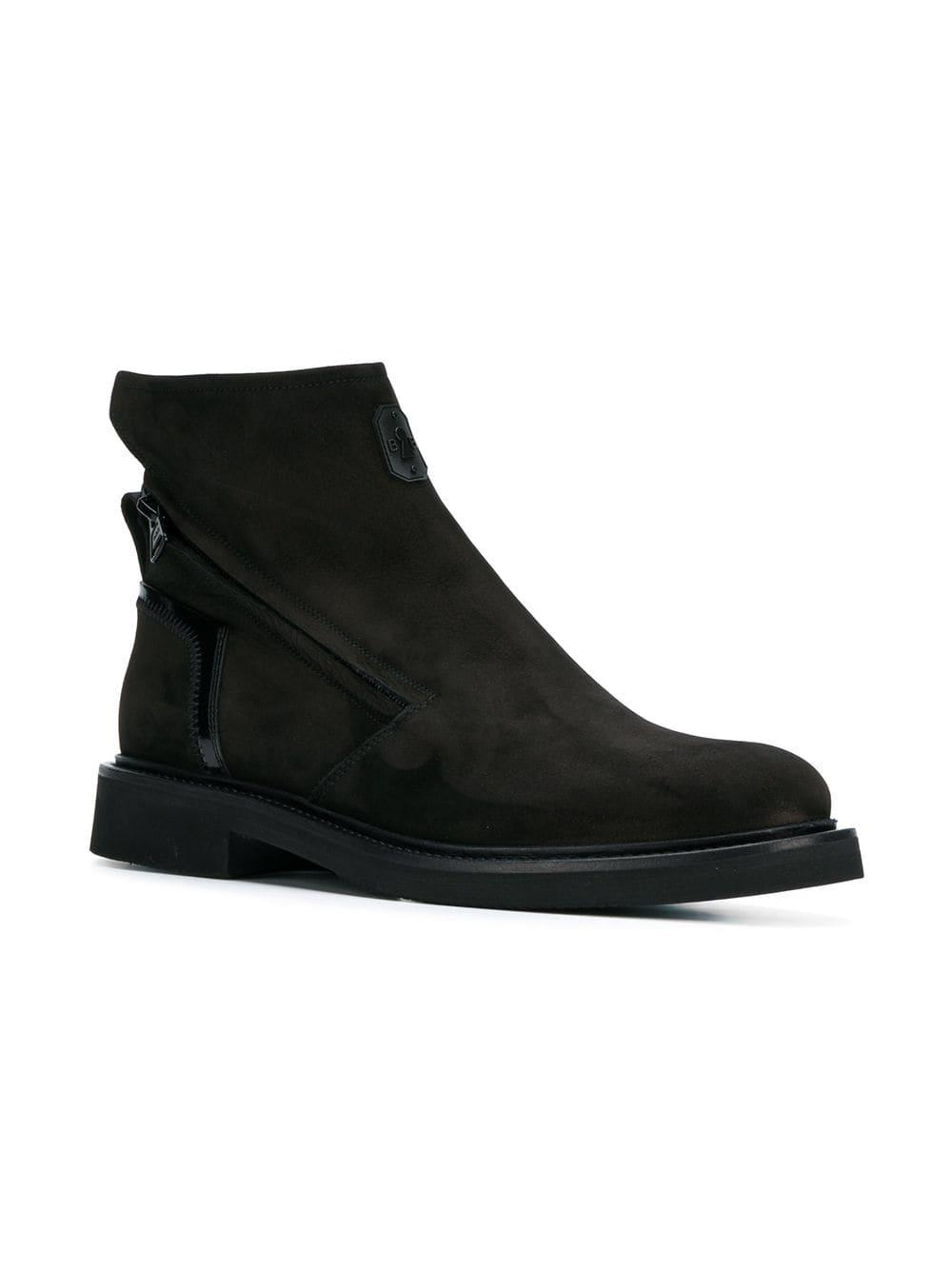 Bruno Bordese Leather Zipped Ankle Boots in Black for Men