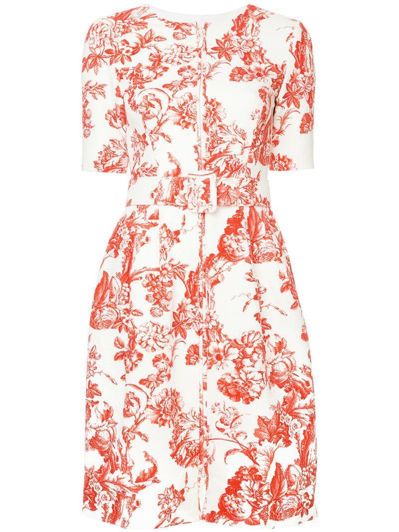 3080ad899fd Oscar De La Renta Floral Toile Short Dress in White - Lyst