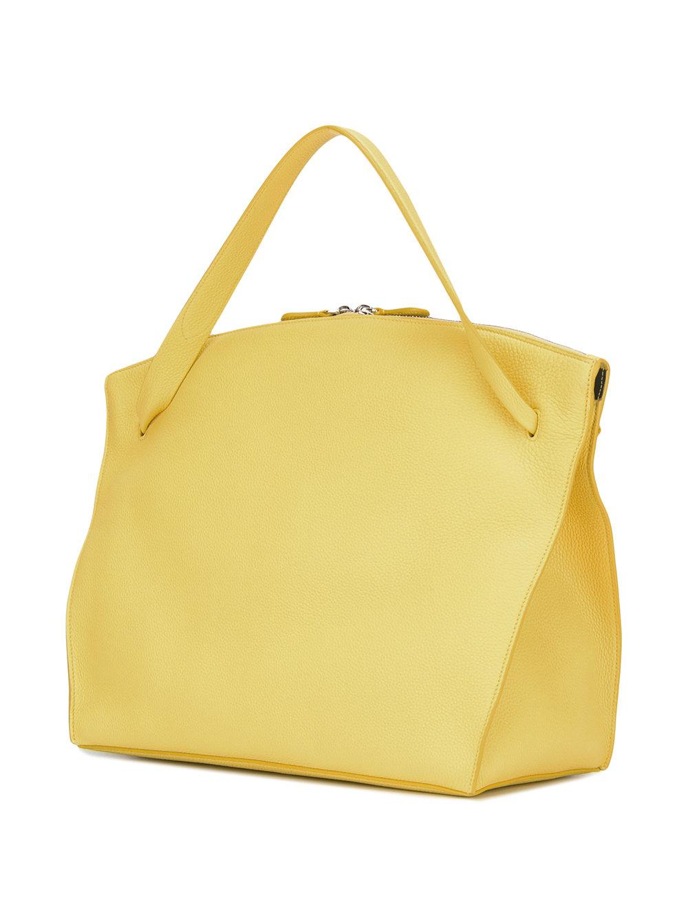 Jil Sander Leather Square Single Handle Tote in Yellow & Orange (Yellow)