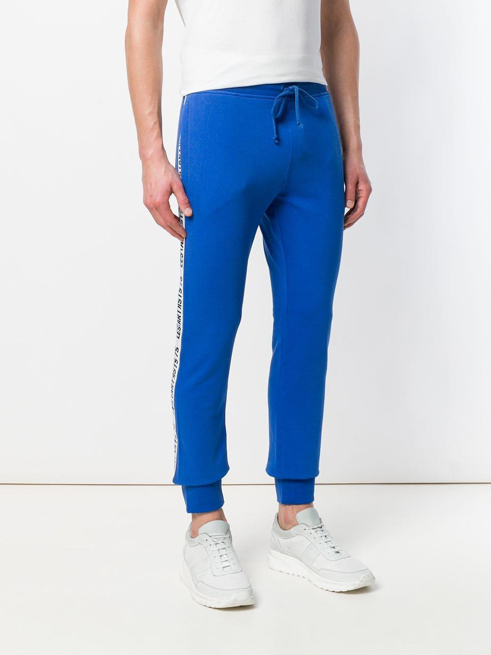 LES (ART)ISTS Cotton Logo Side Stripe Track Trousers in Blue for Men