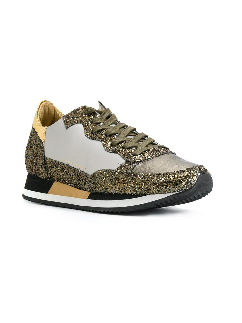 Philippe Model Leather Paradis Glitter Sneakers in Metallic