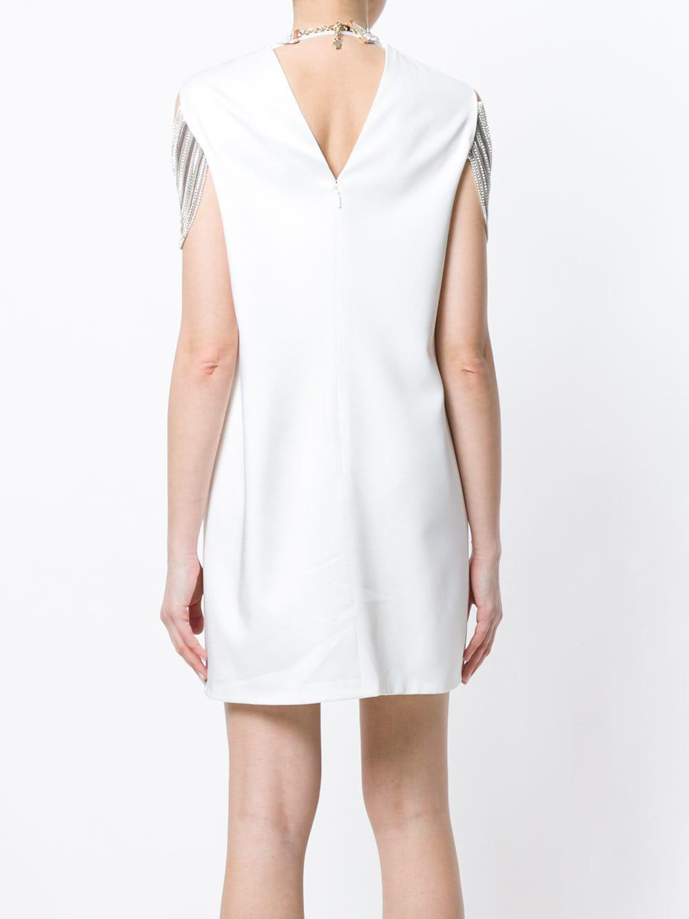Beaded dress Soie Versace en coloris Blanc