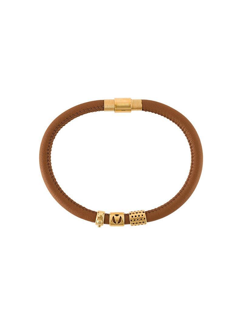 Northskull contrast panel bracelet - Brown 5xZ1P