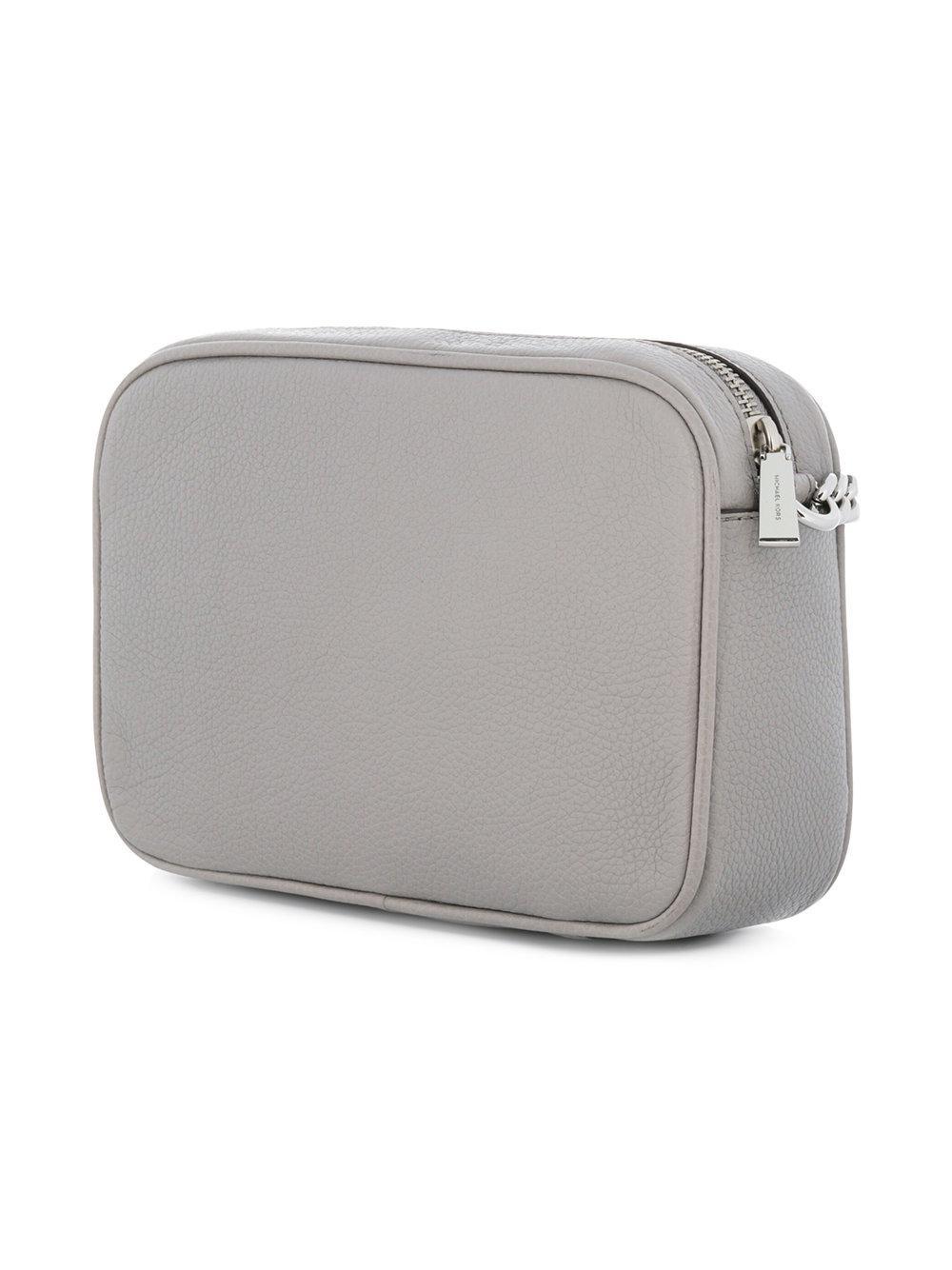 MICHAEL Michael Kors Leather Ginny Medium Crossbody Bag in Grey (Grey)