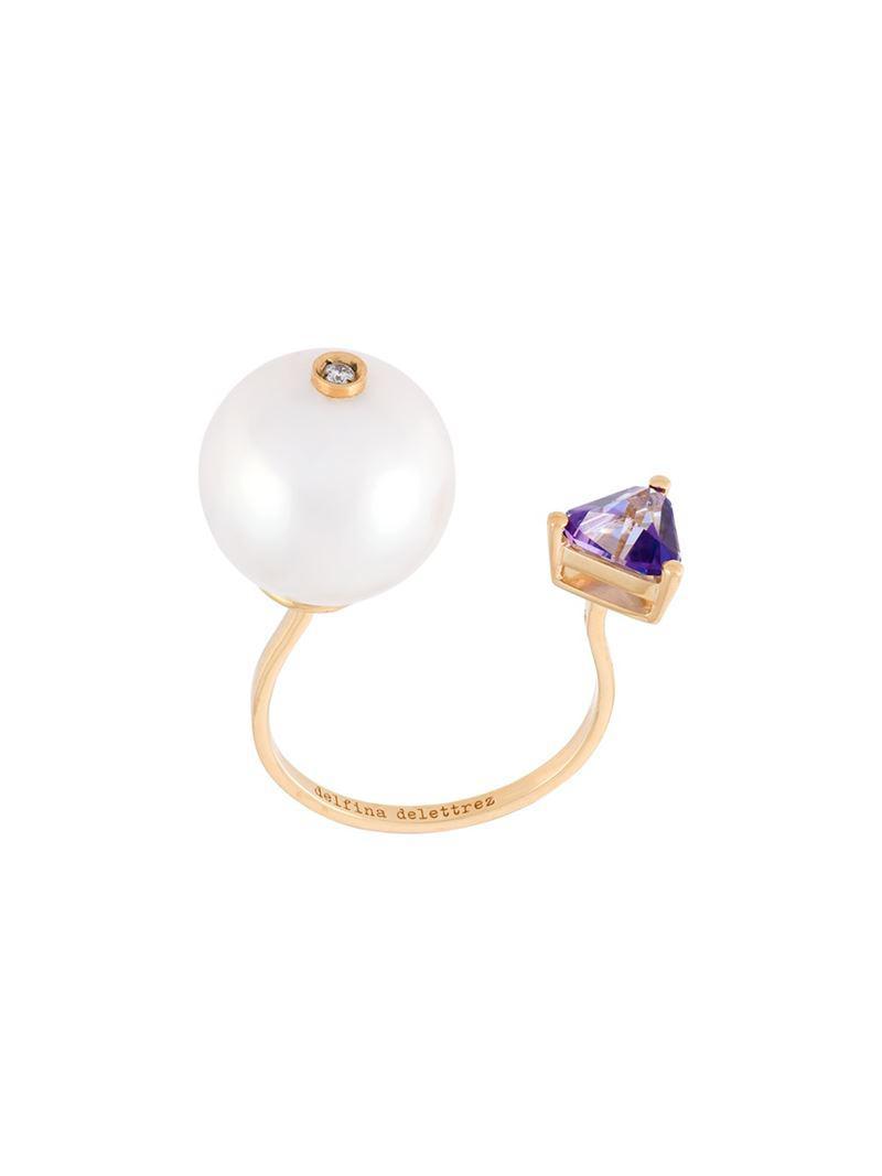 Delfina Delettrez Trillion diamond ring - Yellow & Orange jgLYjO1