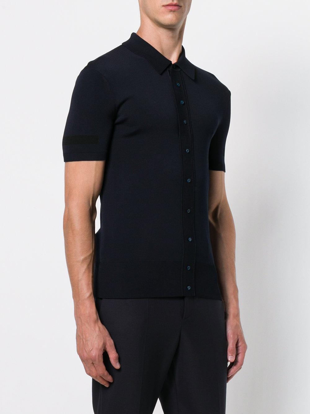 Neil Barrett Synthetic Button-up Polo Shirt in Blue for Men