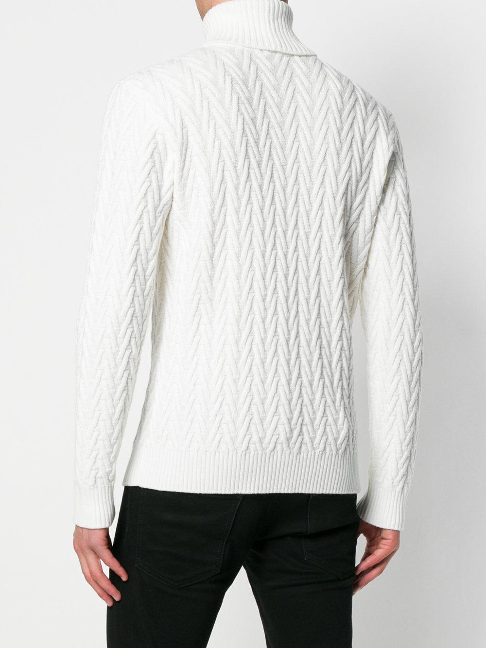 Eleventy Wool Chevron Knit Jumper in White for Men