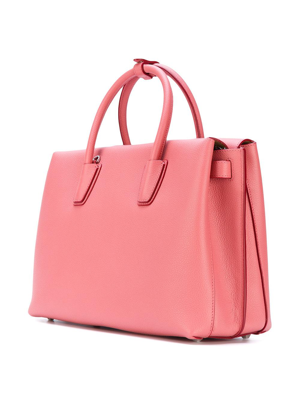 MCM Leather Large Milla Tote in Pink