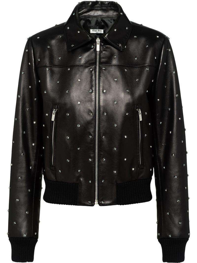 54d61efd8860 Lyst - Miu Miu Crystal Embellished Biker Jacket in Black