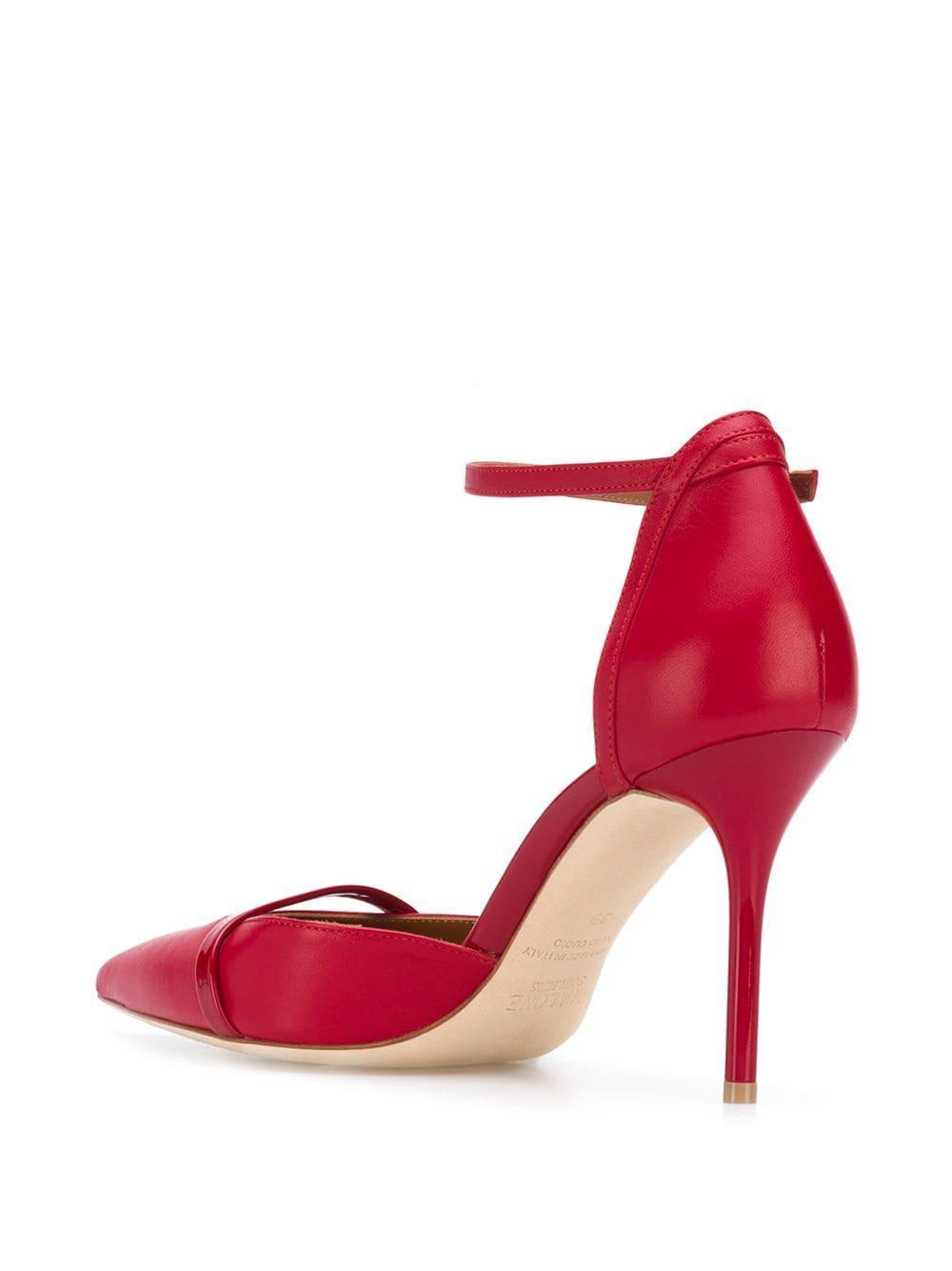 Zapatos de tacón medio con puntera en punta Malone Souliers de color Rojo