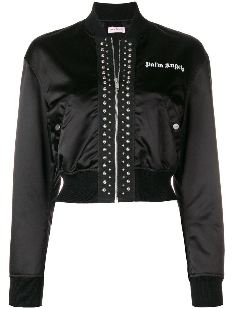 Chaqueta bomber Palm Angels de Raso de color Negro