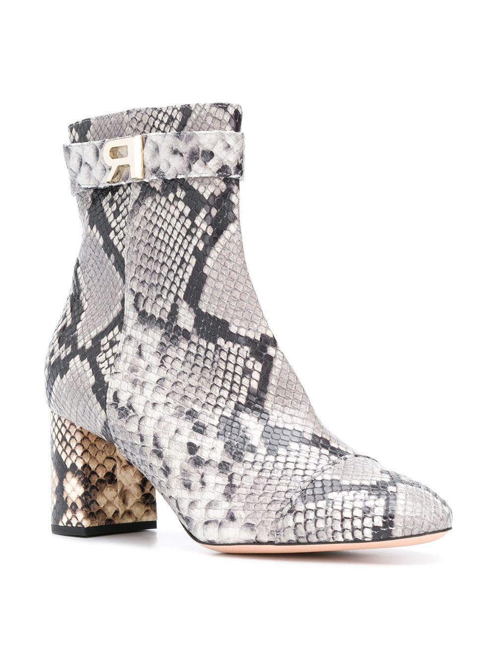 Rochas Leather Ankle Boots in Grey (Grey)