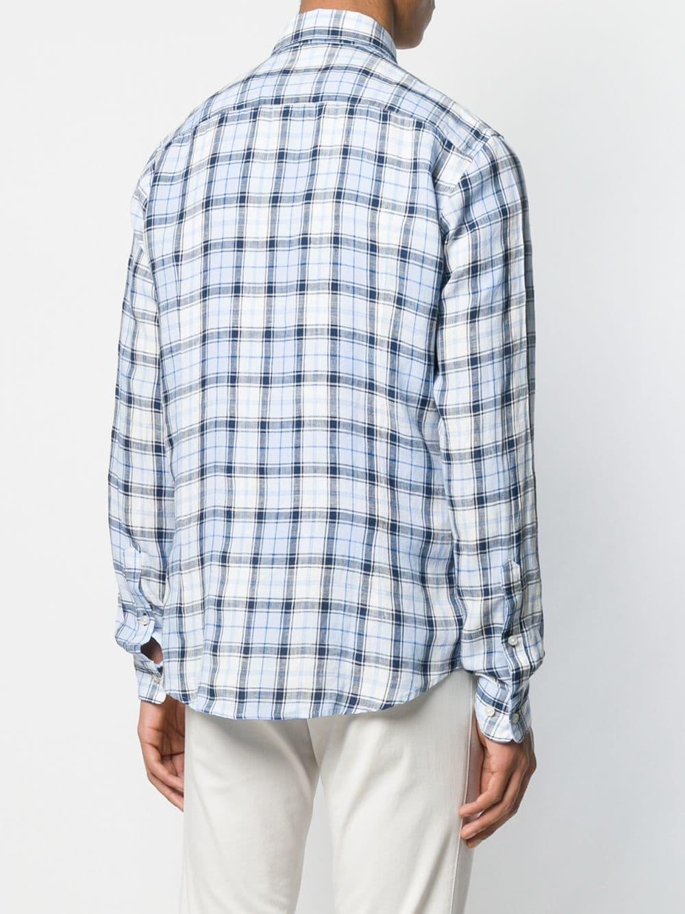 1db289f1 BOSS - Blue Button Down Checked Shirt for Men - Lyst. View fullscreen