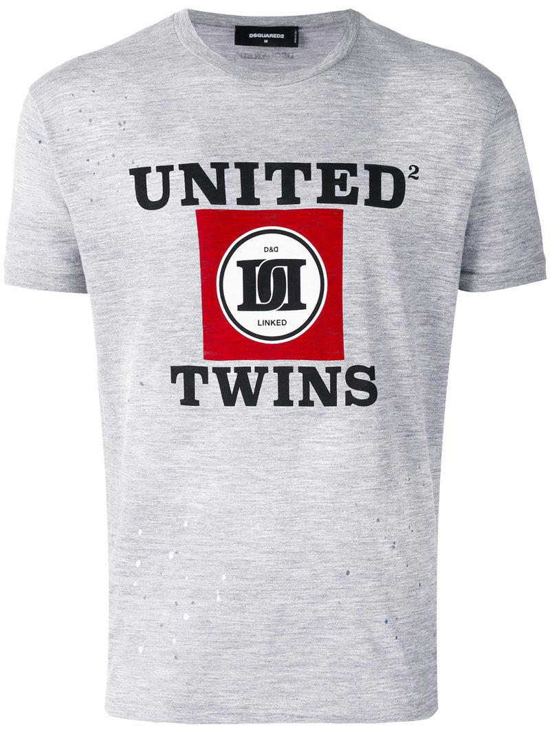 Lyst Dsquared 39 United Twins 39 T Shirt In Gray For Men