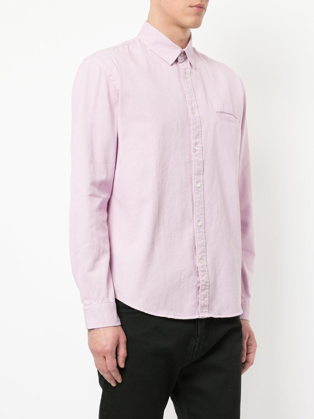 Edwin Cotton Pocket Button Shirt in Pink & Purple (Pink) for Men