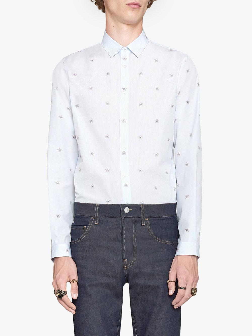 65a4858ec067 Gucci 25 Star Fil Coupé Duke Shirt in Blue for Men - Lyst