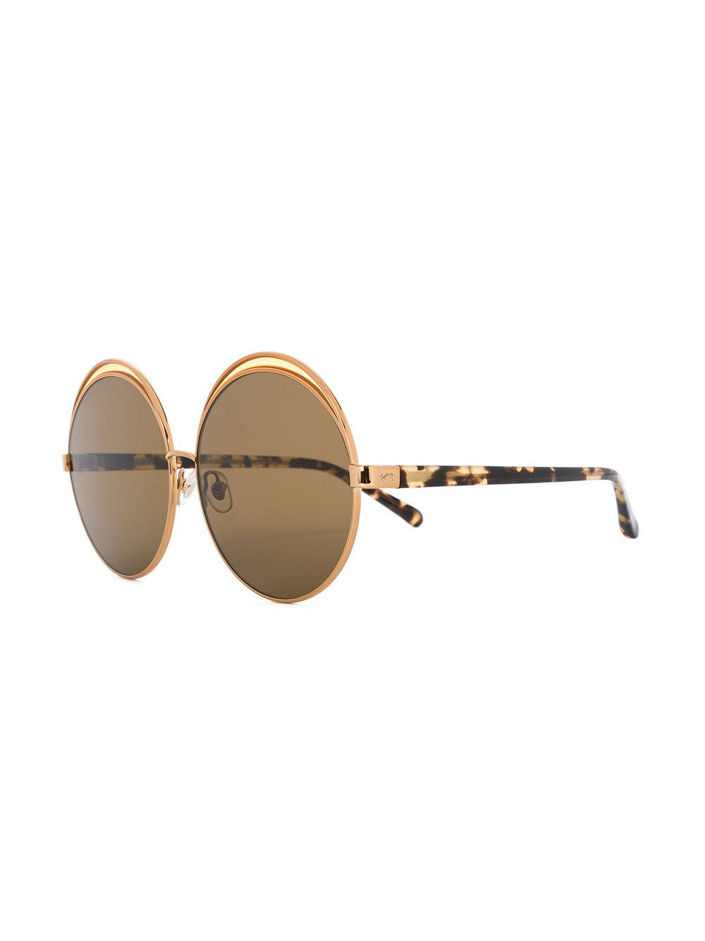 Linda Farrow Round Oversized Sunglasses in Brown