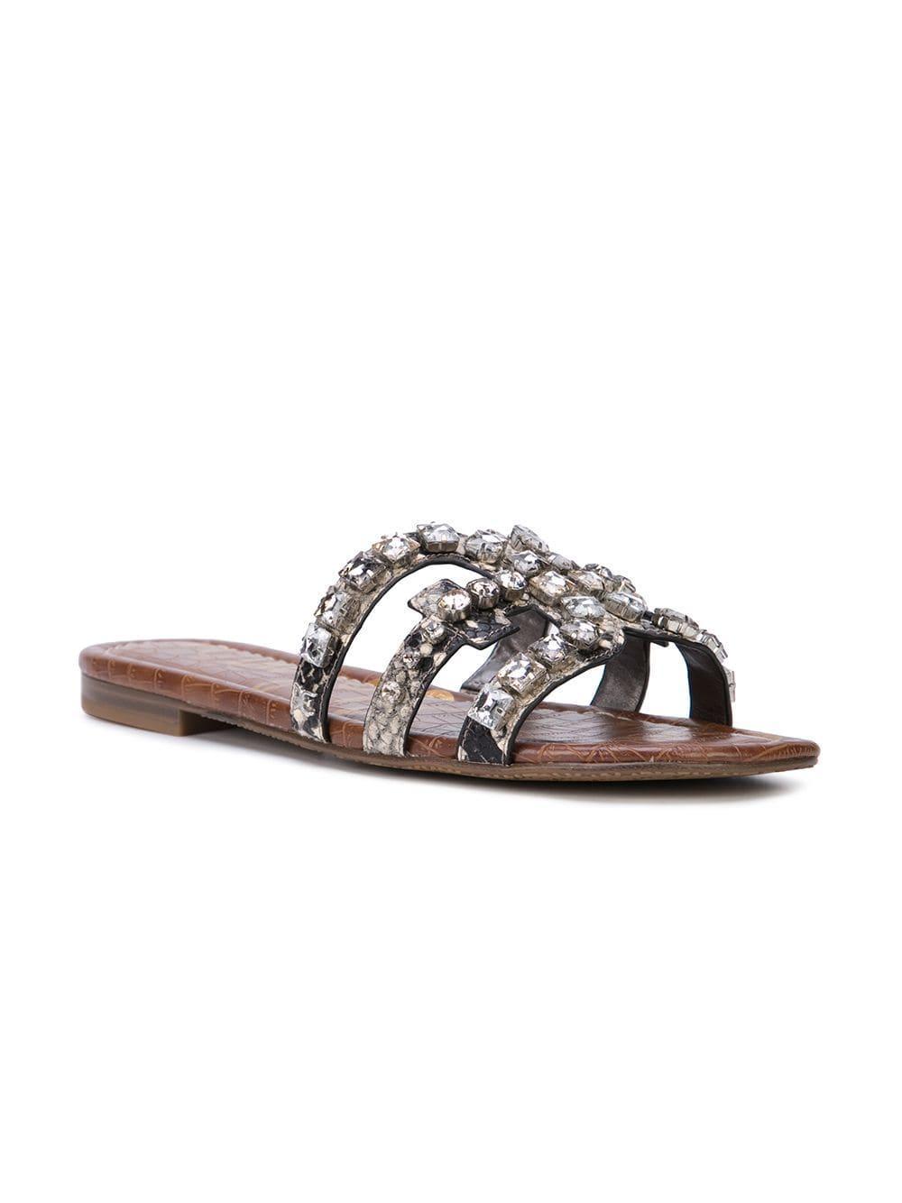 88120639a Sam Edelman Putty Crystal Embellished Sandals in Metallic - Lyst