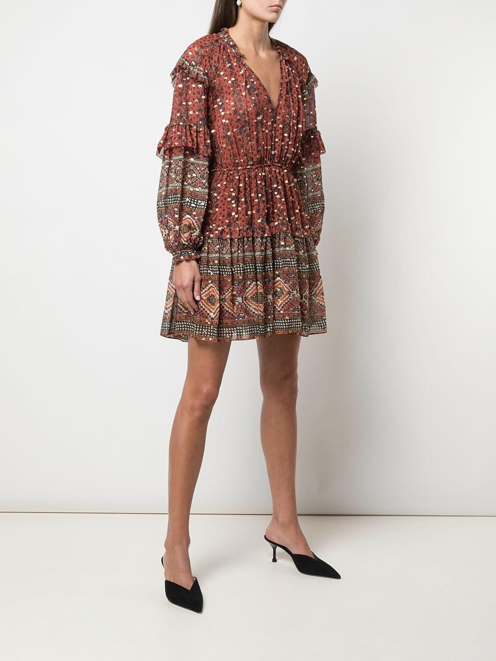 Vestido corto con estampado bohemio Ulla Johnson de Seda de color Rojo
