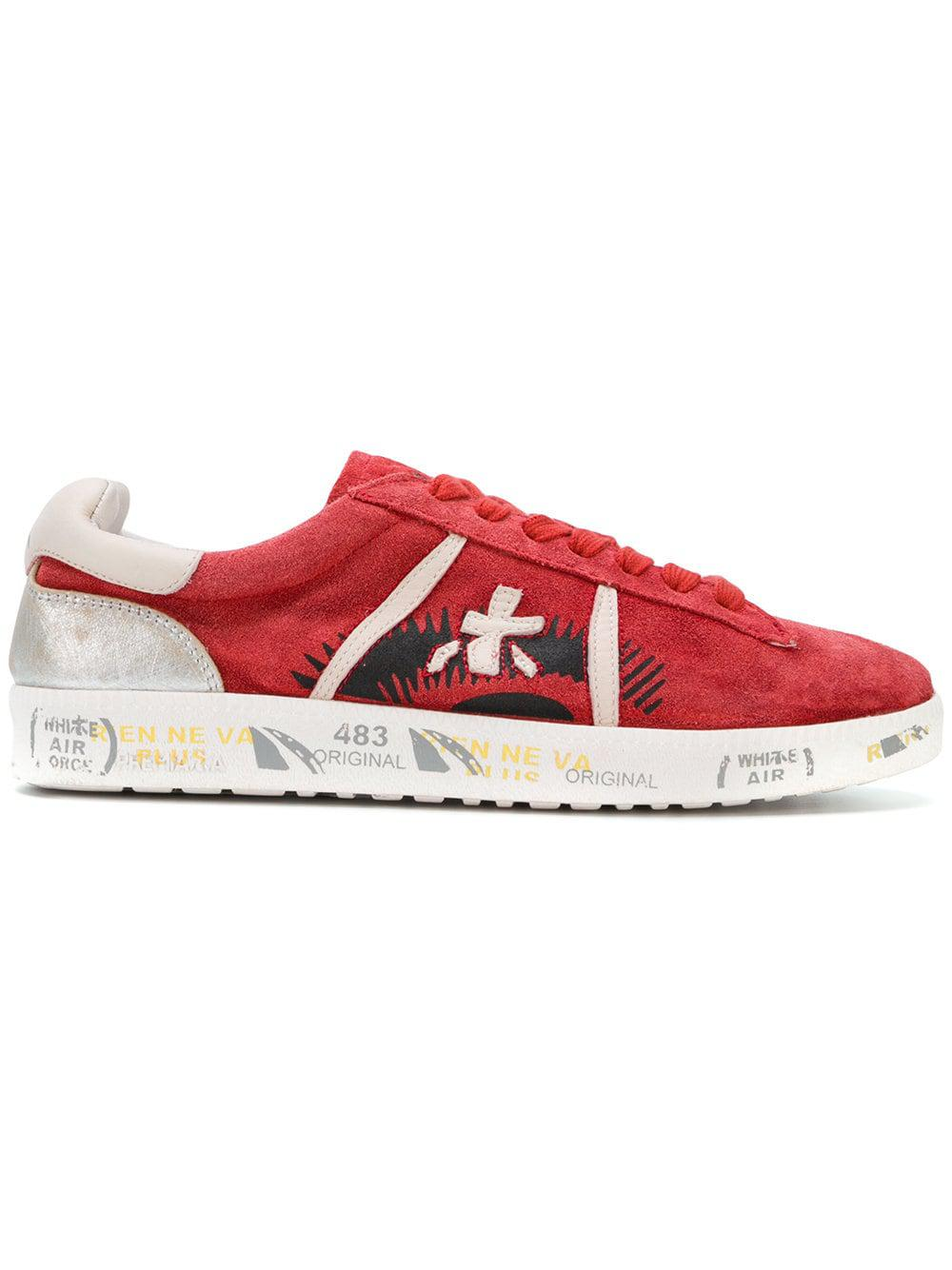 Premiata Leather Andy-d Sneakers in Red