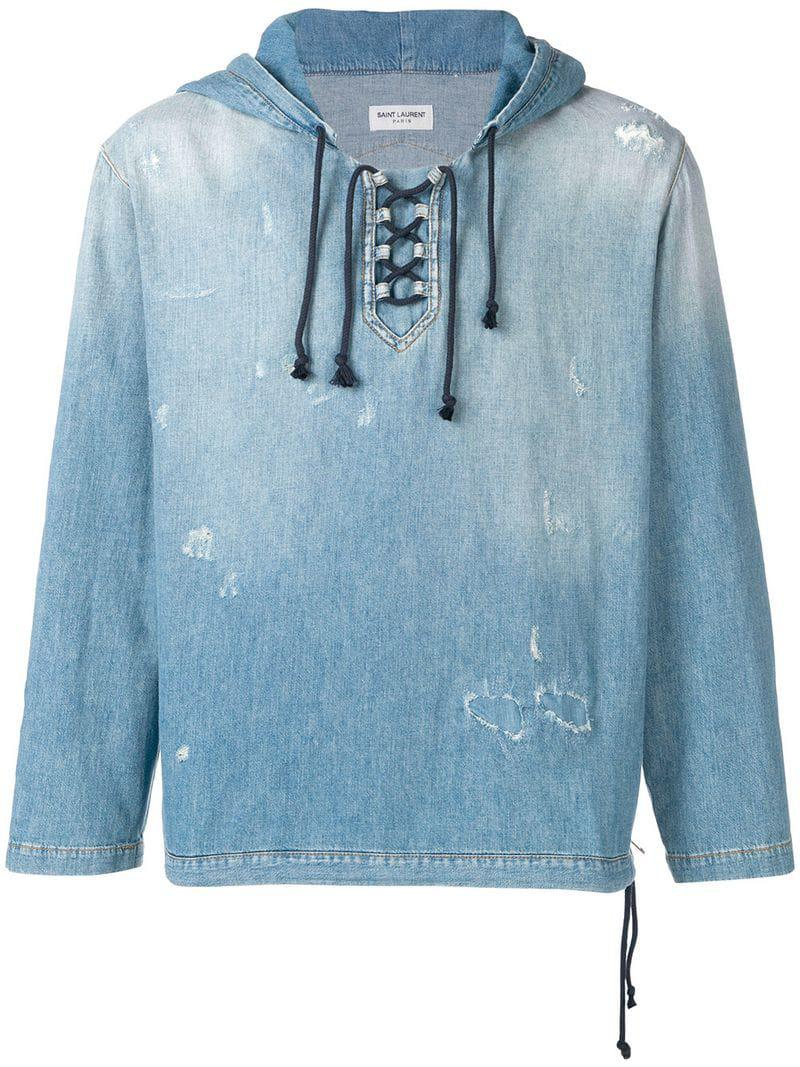806c36a17 Saint Laurent - Blue Destroyed Denim Hoodie for Men - Lyst. View fullscreen