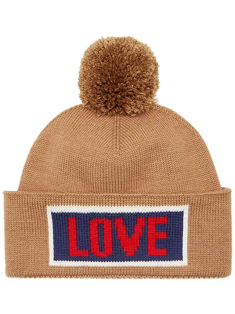 4dd70471eaca54 Fendi Love Slogan Beanie Hat for Men - Lyst