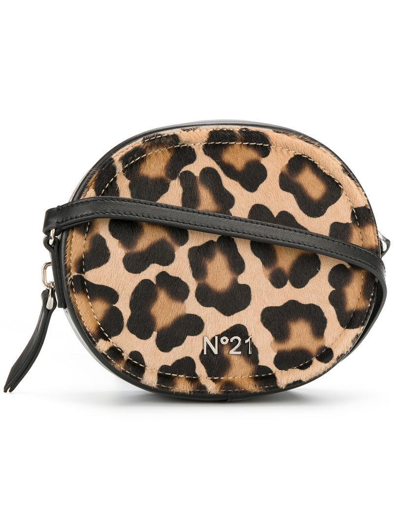 N 176 21 Leather Leopard Print Crossbody Bag Lyst