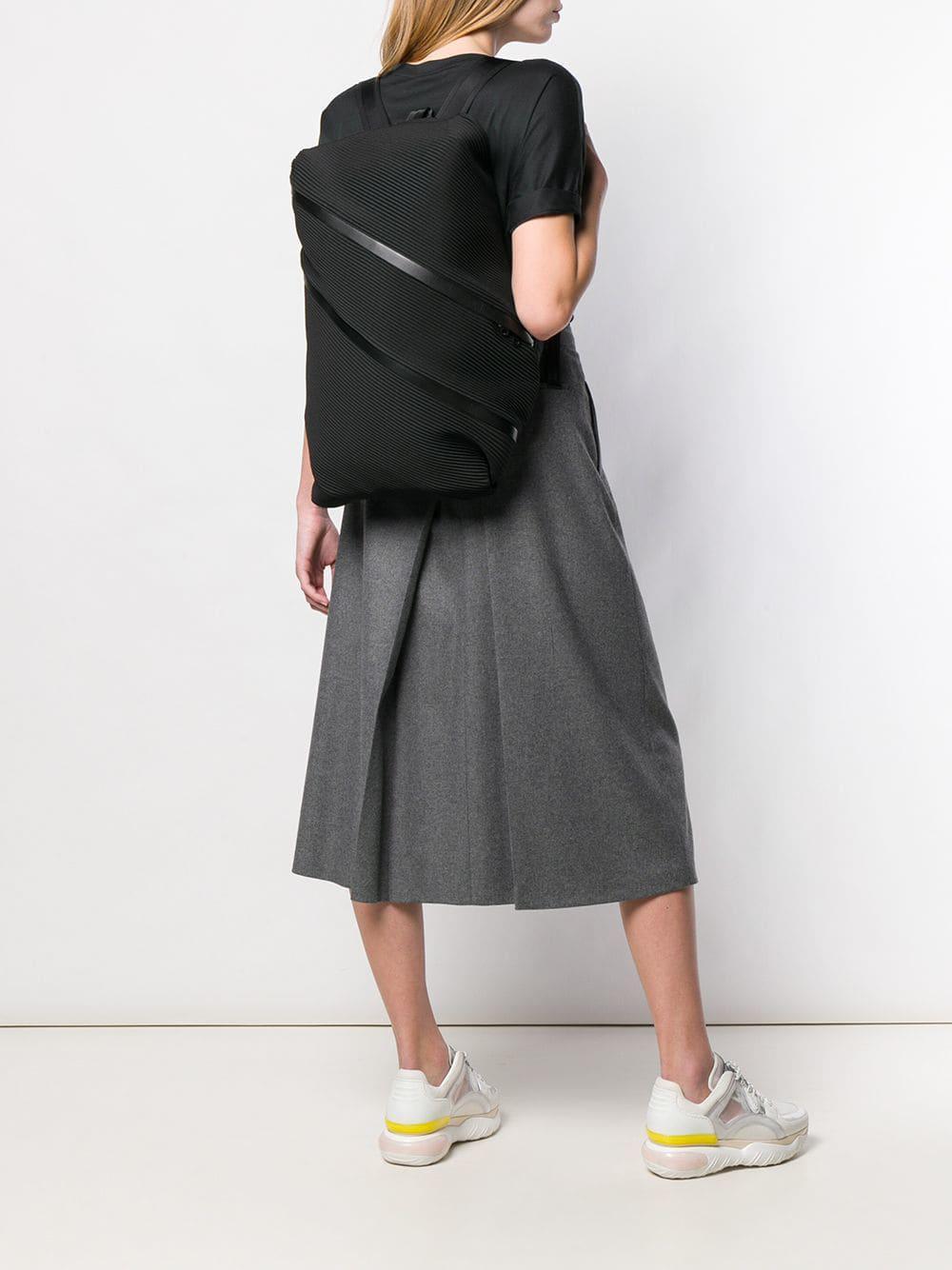 Pleats Please Issey Miyake - Black Pleated Backpack - Lyst. View fullscreen fb7051fc719ef