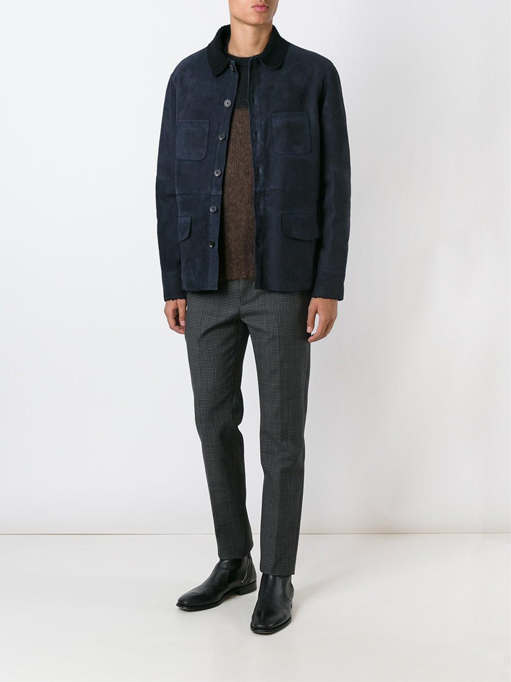 DESA NINETEENSEVENTYTWO Buttoned Leather Jacket in Blue for Men