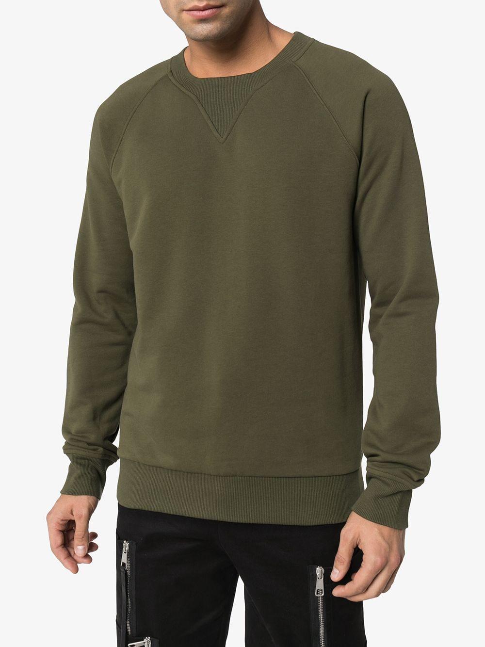 Balmain Katoen Sweater Met Ronde Hals in het Groen voor heren