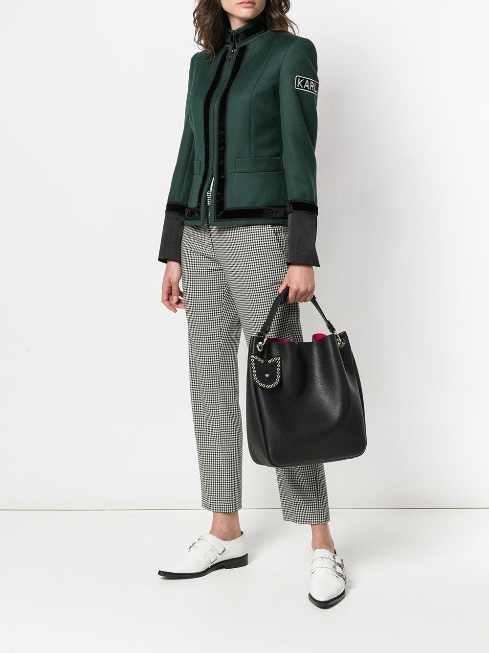 Karl Lagerfeld Leather Karry All Hobo Tote Bag in Black