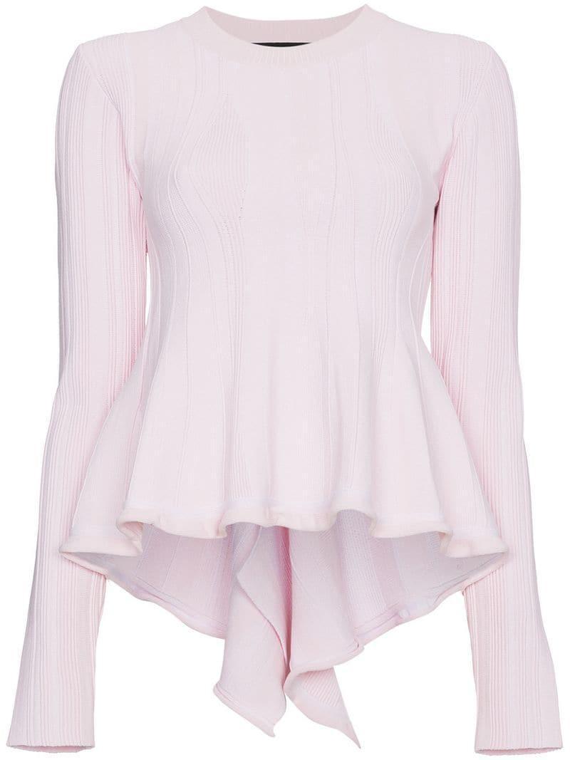 638902271c51 Lyst - Proenza Schouler Long Sleeve Peplum Knit Top in Pink - Save 62%