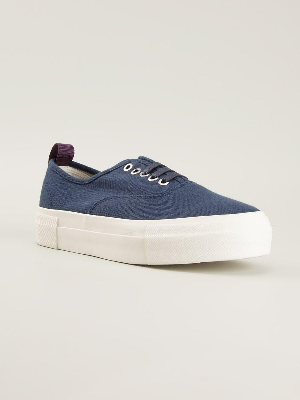 Eytys Canvas Lace Up Trainers in Blue