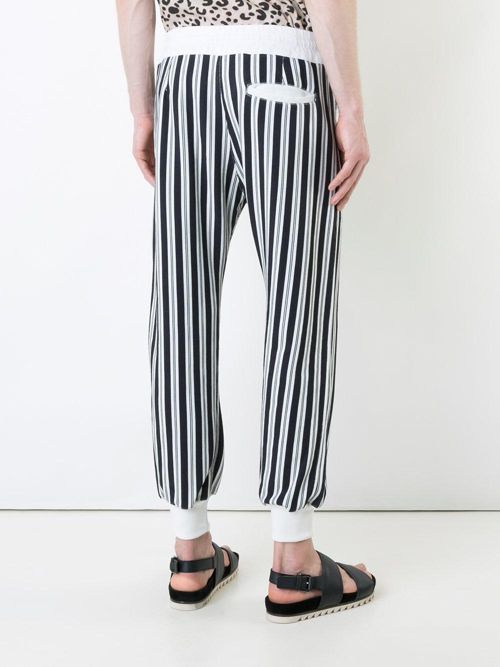 Haider Ackermann Cotton Striped Trousers in White for Men